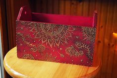 Beautiful wooden box decorated with mehendi patterns done in gold puff paint by Brant Cameron. Love!