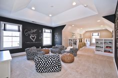 Essex Homes Katherine Model - Bonus Room - Bunk Room - Teen Hang Out Room - Chalk Board Walls - Custom Bunk Beds - Pottery Barn Teen Bean Bag Chairs