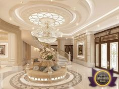 Villa design in Abu Dhabi reflects the atmosphere of elegance and respectability. Impressive luxury décor of the hall and the living room. Gold in combination with light tones fills the atmosphere of the house with festive notes. This luxury...