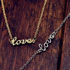 2 NECKLACE BUNDLE - Gold & Silver Love Necklaces BRAND NEW & PACKAGED. Orders are shipped the SAME DAY. Jewelry Necklaces