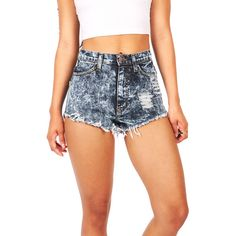 Pink Ice Acid Ruins High Waist Shorts ($38) ❤ liked on Polyvore featuring shorts, denim, denim shorts, ripped jean shorts, destroyed jean shorts, high-waisted shorts and jean shorts