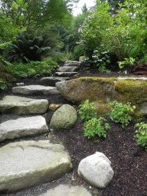 Natural stone steps and boulders