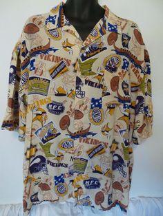 Minnesota Vikings NFL Hawaiian Style Camp Shirt Mens XL Short Sleeve EUC   NFL  MinnesotaVikings d7d2825ff