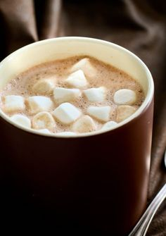 Drop everything and make this BEST HOMEMADE HOT COCOA. Its quite possibly the richest and creamiest cocoa I have ever made. And I lurve it. It's like a piece of warm chocolate cake in a cup. And could not be easier! Adapted from allrecipes. Did ya catch that fabulous trick in there? Add the marshmallows...