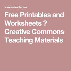Free Printables and Worksheets ⋆ Creative Commons Teaching Materials Math Websites, Educational Websites, Free Printable Math Worksheets, Free Printables, Diy Projects For School, Cloze Activity, Cleaning Checklist, Weekly Cleaning, Literacy And Numeracy