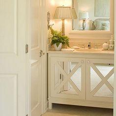 I like the mirrored cabinets #bathroom