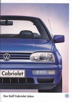 Volkswagen Golf Cabriolet Joker, 8 pages, Germany, Vw Golf 3, Golf Mk3, Volkswagen Golf, Vw Cabrio, Car Sales, Brochures, Cars For Sale, Joker, Flyers