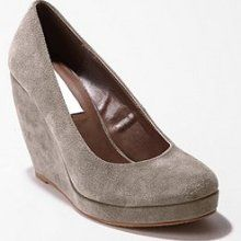 Grey suede wedge shoes.
