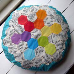 Rainbow Snowflake EPP Pillow by Laura @ Needles, Pins and Baking Tins, via Flickr