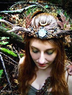 faerie head dress   Antler Crown Headdress Autumn Faerie Princess Fairy Costume Offbeat ...
