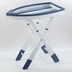 TRAY TABLE IN BOAT DESIGN W/BLUE STRIPES 63X36X69- inart.com