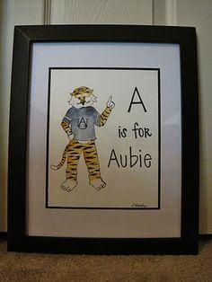 Aubie alphabet painting.... This will be in my child's nursery!! :)