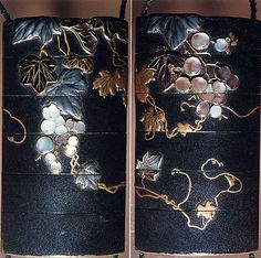 Case (Inrô) with Design of Grapevine  18th-19th century  Case: gold and colored lacquer on black lacquer with mother-of-pearl and pewter inlays; Fastener (ojime): silver vase (signed: Tenni); Toggle: (netsuke): gold with design of cricket and dragonfly with autumn grasses