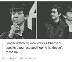 Awe, mama Suho always watching out for his boys. #exo #suho #chanyeol