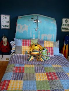 Itsy Bits and Pieces: The Bachman's Fall Ideas House -- great, unique car themed kid's bedroom -- old car hood used as headboard! #maudelovesbachmans