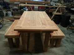 3' x 5' dining table with two matching benches I custom built out of reclaimed  douglas fir!!