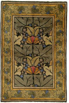 Arts and Crafts area rug, contemporary (original design by English architect C.F.A. Voysey circa 1900)