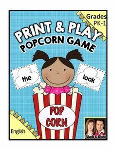Fun sight word popcorn game
