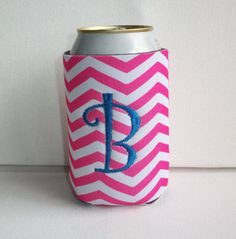 Monogrammed Custom Can pink white chevron Koozie   by FLHCreations