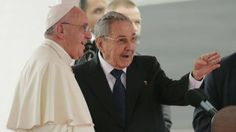 https://flic.kr/p/xTCchg | Cuba Pope | Pope Francis speaks with Cuba's President Raul Castro during his arrival ceremony at the airport in Havana, Cuba, Saturday, Sept. 19, 2015. Pope Francis begins a 10-day trip to Cuba and the United States on Saturday, embarking on his first trip to the onetime Cold War foes after helping to nudge forward their historic rapprochement. (AP Photo/Ramon Espinosa)