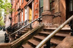 Steps up to brownstone in Greenwich istock