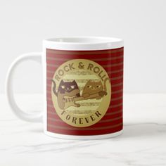 Cat Rock Music Electric Guitar Golden Stripes Chic Large Coffee Mug  $22.05  by Catification  - custom gift idea