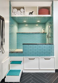 Absolutely amazing dog washing station in laundry room with steps and turquoise subway tile. This raised dog washing station is any dog lovers dream for a laundry room renovation. Mudroom Laundry Room, Laundry Room Remodel, Laundry Room Design, Dog Bathing Station, Küchen Design, House Design, Clean Design, Interior Design, Dog Grooming Salons