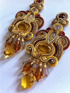 Empire of the sun earrings on Etsy. Amber Gemstone, Gemstone Jewelry, Beaded Jewelry, Jewellery, Soutache Earrings, Ring Earrings, Amber Jewelry, Statement Jewelry, Shibori