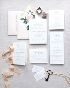 Pink and grey wedding invitation suite with Vintage floral envelope liner and pale pink silk ribbon Pink Silk, Pale Pink, Pink And Green, Grey Wedding Invitations, Wedding Cards, Green Wedding, Wedding Colors, Letter Stationery, Sophisticated Bride