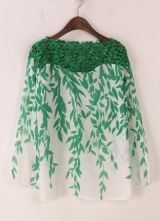 Green Contrast Hollow Lace Leaves Print Blouse $28.17