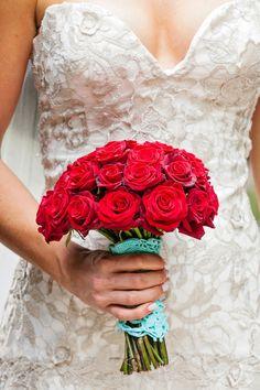 Bouquet with red roses. Photography: Rochelle Cheever | Wedding Planner: Distinctive Italy Weddings | http://flyawaybride.com/elegant-roman-wedding-rochelle-cheever/ #flowers #weddingflowers #roses #red
