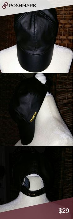 BEBE BLACK FAUX LEATHER CAP WITH BEBE LOGO IN GOLD Gorgeous BEBE black faux leather cap with bebe logo on the side and back. Velcro closure on the back for the pony tail. In excellent pre owned condition. bebe Accessories Hats