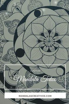 Custom Mandala Tatoo in black and white ink. White Ink, Black And White, Tatoo, Mandalas, Tutorials, Creativity, Artists, Black N White, Black White