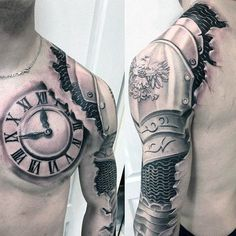 Mens Armor With Roman Numeral Clock Sleeve 3d Tattoo Ideas With Great Design #TattooIdeasMensSleeve