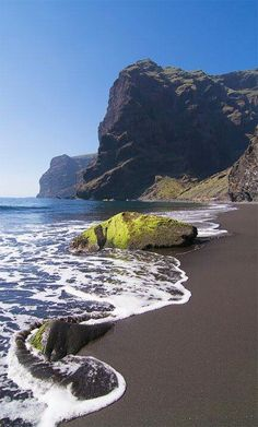 Playa de Masca ~ is a wonderful isolated beach with volcanic sand and turquoise waters. in Tenerife, Canary Islands. Dream Vacations, Vacation Spots, Canaries Tenerife, Places To Travel, Places To See, Places Around The World, Around The Worlds, Photos Voyages, Canary Islands