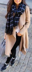 #winter #fashion / cream coat + plaid scarf