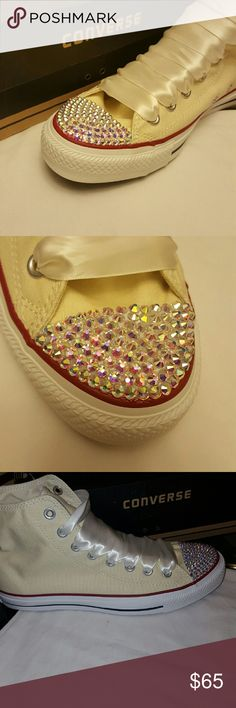Rhinestone Converse Iridescent Rhinestone Converse, hand applied...This is a simple fast design for sale. I do customize, also. Converse Shoes Sneakers
