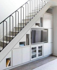 Staircase Interior Design, Home Stairs Design, Home Room Design, Home Interior Design, House Design, Staircase Storage, House Staircase, Stair Storage, Hidden Storage