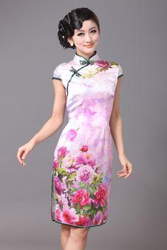 Brilliant Peony Flowers Silk Cheongsam - Qipao - Cheongsam - Women
