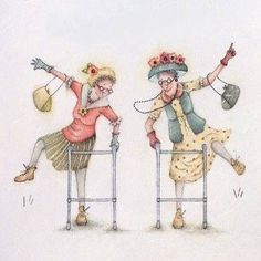 It's a 10 from Len, Artist - Berni Parker Old Lady Humor, Crazy Friends, Art Impressions, Illustrations, Funny Cards, Whimsical Art, Cute Illustration, Old Women, Oeuvre D'art