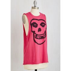 Skulls Mid-length Sleeveless Uptown Punk Top by ModCloth ($35) ❤ liked on Polyvore featuring tops, punk tops, pink top, jersey tank, pink tank and sleeveless tank tops