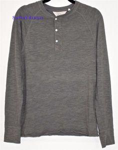 Rag Bone Henley Shirt Gray Cotton s M Basic Long Sleeve Sweater Raglan $150 | eBay