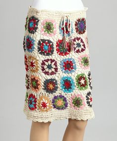 This Natural Floral Crocheted Drawstring Skirt - Women by Jayli is perfect! #zulilyfinds