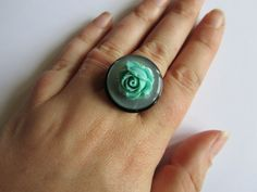 Button ring Black and green flower button by Craftswithchrissie, £2.99