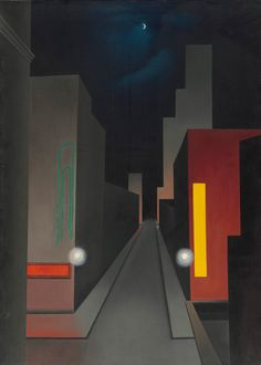 New Moon, New York: 1945 by George Ault (Part of Exhibit: American Modern: Hopper to O'Keeffe - Museum of Modern Art, NYC) - Modernism