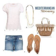 look mediterraneo, encaje, crochet, denim, capazo, sandalias, collar largo
