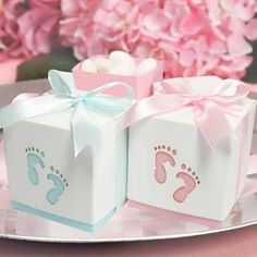 """Lasercut """"Footprints"""" Baby Shower Favour Boxes. Great for candy buffet and thank you bomboniere. Pink and Blue."""