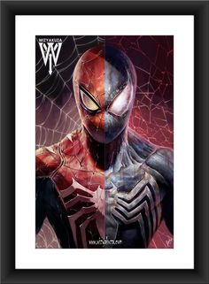 Drawing Marvel Comics Spider/Symbiote Split - x Museum Quality 80 lb. Marvel Comics, Heros Comics, Hq Marvel, Marvel Heroes, Captain Marvel, Fantasy Anime, Final Fantasy, Amazing Spiderman, Comic Book Characters