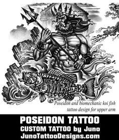 poseidon tattoo, greek mythology tattoo, juno tattoo designs