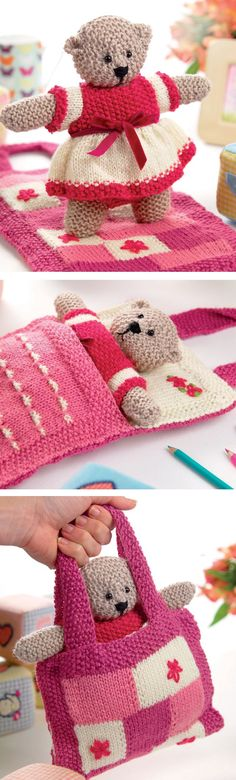 Free Until Nov 26, 2017 - Knitting Pattern for Shirley Bear - This teddy bear toy pattern, also known as Sleepy Ted, comes with a pretty pink and white outfit and patchwork bed that doubles as a small bag. Bear: approx 25cm tall. Designed by Val Pierce for Let's Knit. Free until November 26, 2017.